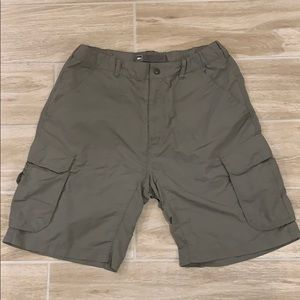 REI green nylon hiking cargo shorts